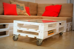 reclaimed wood sofa and table